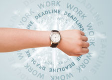 Clocks with work and deadline round writing Stock Photo