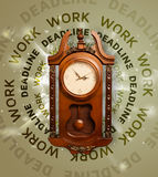 Clocks with work and deadline round writing Stock Images