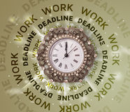 Clocks with work and deadline round writing Stock Photography