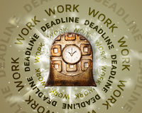 Clocks with work and deadline round writing Stock Photos
