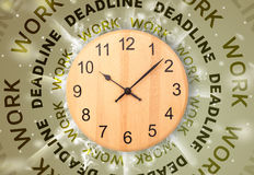 Clocks with work and deadline round writing Royalty Free Stock Photos