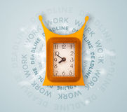 Clocks with work and deadline round writing Royalty Free Stock Image