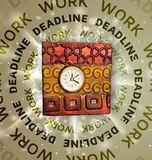 Clocks with work and deadline round writing Stock Image