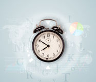 Clocks with world time and finance business concept Royalty Free Stock Images