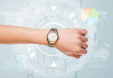 Clocks with world time and finance business concept Stock Image