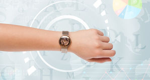 Clocks with world time and finance business concept Royalty Free Stock Photos