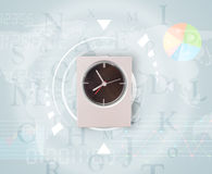 Clocks with world time and finance business concept. Clocks with world time and finance graph business concept Stock Images
