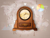 Clocks with world time and finance business concept Stock Images