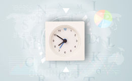 Clocks with world time and finance business concept Stock Photography