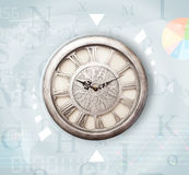 Clocks with world time and finance business concept. Clocks with world time and finance graph business concept Royalty Free Stock Images