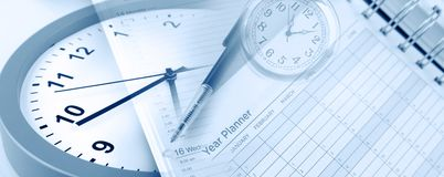Clocks and year planner royalty free stock photos