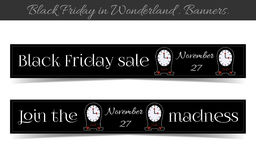 Clocksanners Black Friday Sale in Wonderland. Banners Black Friday Sale in Wonderland - Clocks. Vector Illustration for Graphic Projects, Real Life Parties and Stock Photography
