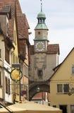 Clocktower在Rothenburg,德国 免版税库存照片