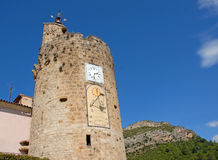 The clocktower in Anduze. Picture of The clocktower in Anduze, Gard, France Stock Photos