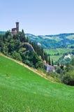 Clocktower. Brisighella. Emilia-Romagna. Italy. Perspective of the Clocktower of Brisighella. Emilia-Romagna. Italy Royalty Free Stock Photo
