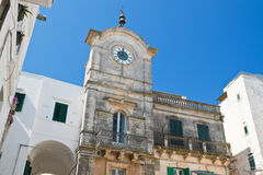 Clocktower of Cisternino. Puglia. Italy. Perspective of Clocktower of Cisternino. Puglia. Italy stock photos