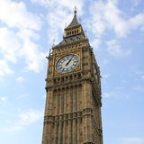 Clocktower. The clock tower and face of Big Ben, Westminster, London stock photo