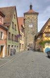 Clocktower dans Rothenburg, Allemagne Photos stock