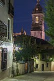 Clocktower der Lekeitio-Basilika Stockfotos