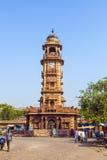 Clocktower en el mercado de Sadar en Jodhpur, Rajasthán, la India Imagenes de archivo