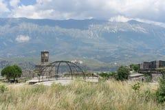 Clocktower in Gjirokastra castle. Historic clocktower in gjirokastra castler over gjirocastkra Stock Photos