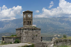 Clocktower in Gjirokastra castle. Historic clocktower in gjirokastra castler over gjirocastkra Stock Image