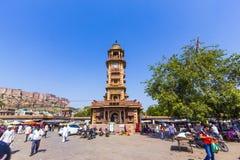 Clocktower histórico en el mercado de Sadar en Jodhpur, la India Fotografía de archivo libre de regalías