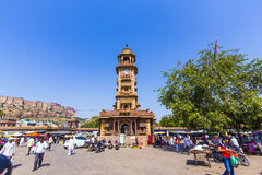 Clocktower histórico no mercado de Sadar em Jodhpur, Índia Fotografia de Stock Royalty Free