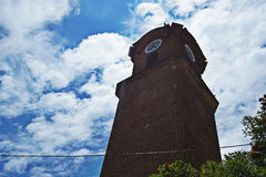 Clocktower. From local church in Chañar Ladeado, Santa Fe, Argentina. Taken on a clouded day Royalty Free Stock Photos