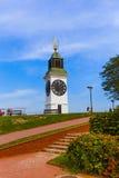 Clocktower na fortaleza de Petrovaradin - Sérvia de Novi Sad imagem de stock