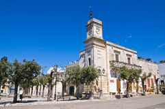 Clocktower. Palmariggi. Puglia. Italy. Royalty Free Stock Photo