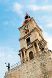Clocktower in Rhodes (Greece). Medieval clocktower in Rhodes (Greece Royalty Free Stock Photos