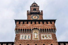 Clocktower of Sforza Castle in Milan, Italy Royalty Free Stock Photos