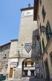Clocktower. Soriano nel Cimino. Lazio. Italy. Perspective of the Clocktower of Soriano nel Cimino. Lazio. Italy Stock Photography