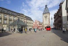 Clocktower van Speyer, Duitsland Stock Fotografie