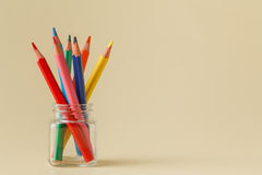 A clockwise standing pencils in jar Royalty Free Stock Images