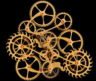 Clockwork. Illustration of precision engineered cogs and gears isolated on black Stock Photo