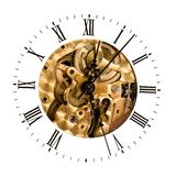 Clockwork. Clock dial, and clockwork. Gears and screws. Mechanical structure stock photography
