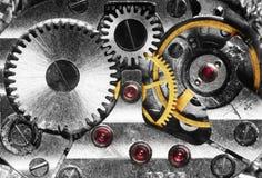 Clockwork. Of the metallic mechanical watch close-up stock photography