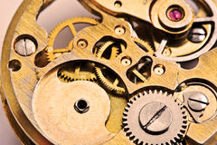 Clockwork. Of ancient gold watches stock image