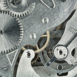 Clockwork. Old clock mechanic inside, clockwork close up stock images