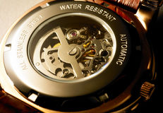 Clockwork. Inside angle view of the clockwork royalty free stock photography