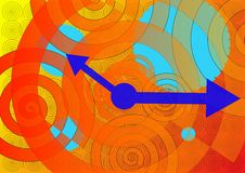 Clockwork Abstract. Abstract clockwork parts with spirals and gears with hour and minute arrow hands Stock Photos