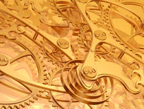 Clockwork background. Illustration of a golden background using precision engineered cogs and gears Stock Image