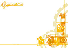 Clockwork background with sample logo. Vector illustration of a modern industrial clockwork pattern background in yellow and orange with sample logo in the Royalty Free Stock Photo