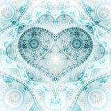 Clockwork blue fractal heart. Valentine`s day motive, digital artwork for creative graphic design Royalty Free Stock Photos