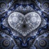 Clockwork blue fractal heart. Valentine`s day motive, digital artwork for creative graphic design Stock Photos