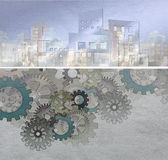 Clockwork city. City construction model with cogwheel mechanism on grunge background Royalty Free Stock Photos