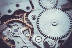 Clockwork . Close-up Of Old Clock Watch Mechanism Royalty Free Stock Photo