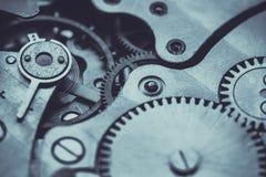 Clockwork . Close-up Of Old Clock Watch Mechanism Stock Photo